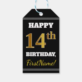 Etiqueta Para Presente Preto, aniversário do ouro do falso 14o + Nome