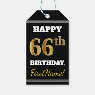 Etiqueta Para Presente Preto, aniversário do ouro do falso 66th + Nome