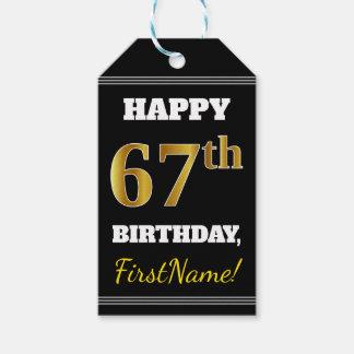 Etiqueta Para Presente Preto, aniversário do ouro do falso 67th + Nome