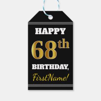 Etiqueta Para Presente Preto, aniversário do ouro do falso 68th + Nome