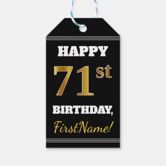 Etiqueta Para Presente Preto, aniversário do ouro do falso 71st + Nome