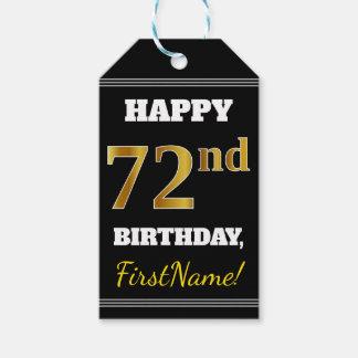 Etiqueta Para Presente Preto, aniversário do ouro do falso 72nd + Nome