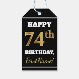 Etiqueta Para Presente Preto, aniversário do ouro do falso 74th + Nome