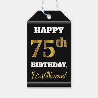 Etiqueta Para Presente Preto, aniversário do ouro do falso 75th + Nome