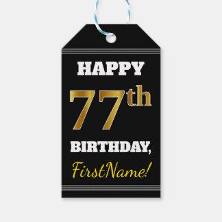 Etiqueta Para Presente Preto, aniversário do ouro do falso 77th + Nome