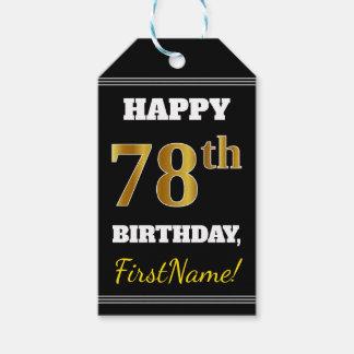 Etiqueta Para Presente Preto, aniversário do ouro do falso 78th + Nome