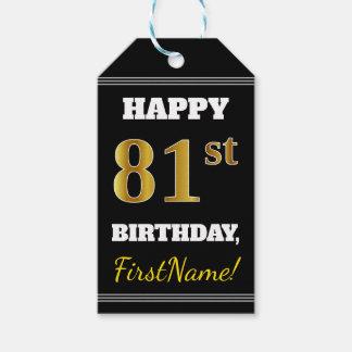 Etiqueta Para Presente Preto, aniversário do ouro do falso 81st + Nome