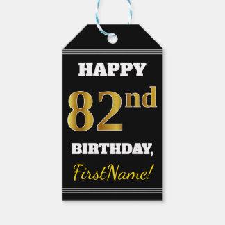 Etiqueta Para Presente Preto, aniversário do ouro do falso 82nd + Nome
