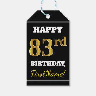 Etiqueta Para Presente Preto, aniversário do ouro do falso 83rd + Nome