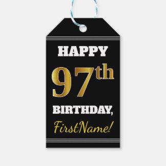 Etiqueta Para Presente Preto, aniversário do ouro do falso 97th + Nome