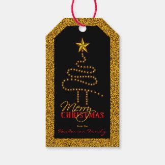 Etiqueta Para Presente Preto do Natal e árvore abstrata do Xmas do ouro