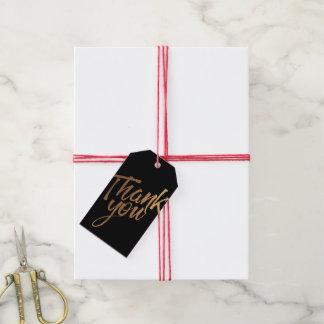 Etiqueta Para Presente Preto e mancha do ouro que Wedding o obrigado você
