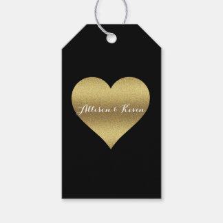 Etiqueta Para Presente Preto e Tag do presente do coração da festa de