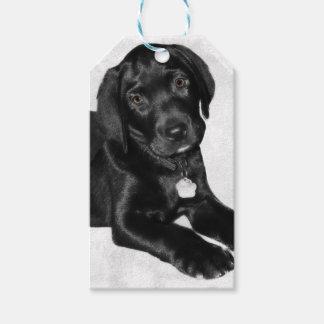 Etiqueta Para Presente Preto Labrador do amor de filhote de cachorro