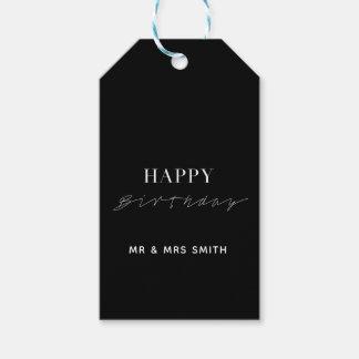 "Etiqueta Para Presente ""Preto personalizado do feliz aniversario"""