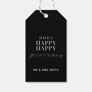 """Etiqueta Para Presente """"Preto personalizado do feliz aniversario feliz"""""""