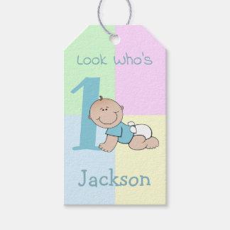 Etiqueta Para Presente Primeiro aniversario bonito do bebé dos desenhos