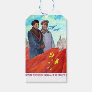 Etiqueta Para Presente Propaganda original Mao Zedong e Josef Stalin