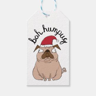 Etiqueta Para Presente Pug do papai noel do Natal de Bah Humpug