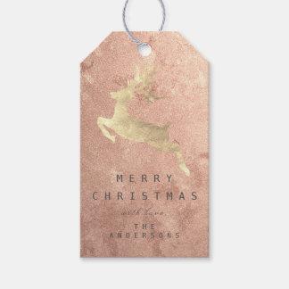 Etiqueta Para Presente Rena cor-de-rosa do ouro do cobre do Tag do