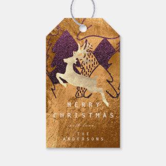 Etiqueta Para Presente Rena da árvore de Natal de Gol do mel de Borgonha