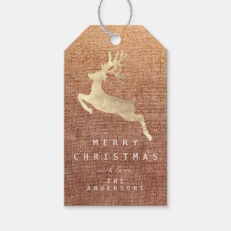 Etiqueta Para Presente Rena de linho de serapilheira do ouro do cobre do