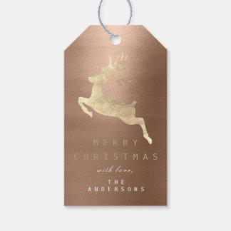 Etiqueta Para Presente Rena do ouro do bronze do café do Tag do presente
