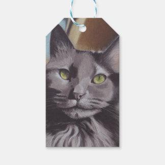 Etiqueta Para Presente Retrato cinzento do animal de estimação do gato