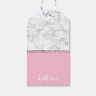 Etiqueta Para Presente Rosa de mármore branco do brilho cor-de-rosa