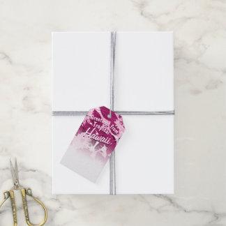Etiqueta Para Presente Rosa tropical floral manchado