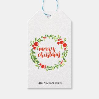 Etiqueta Para Presente Roteiro do Feliz Natal da grinalda das bagas do