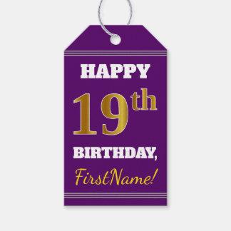 Etiqueta Para Presente Roxo, aniversário do ouro do falso 19o + Nome