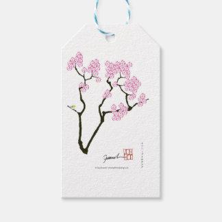 Etiqueta Para Presente sakura com pássaro verde, fernandes tony