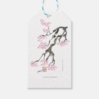 Etiqueta Para Presente sakura com peixe dourado cor-de-rosa, fernandes