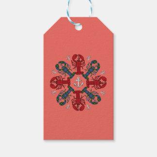 Etiqueta Para Presente Salmões de N.S. Natal da âncora do floco de neve