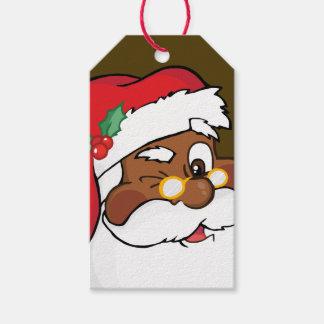 Etiqueta Para Presente Segredo que pisc a Papai Noel preto o Tag de papel