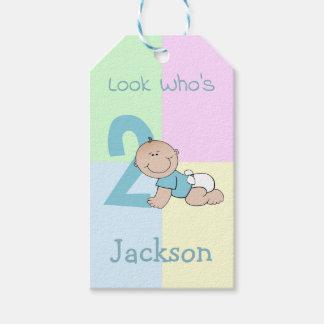 Etiqueta Para Presente Segundo aniversário bonito do bebé dos desenhos