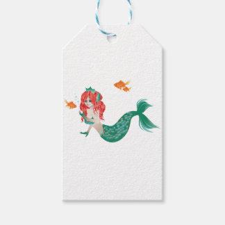 Etiqueta Para Presente Sereia de cabelo vermelha 2