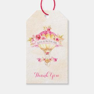 Etiqueta Para Presente Seta dos rosas amarelos do ouro do rosa do balão