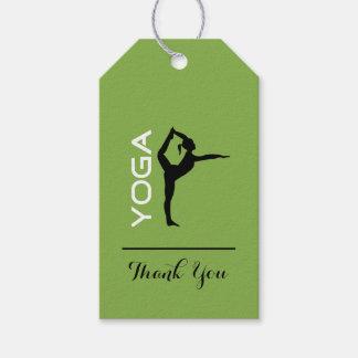 Etiqueta Para Presente Silhueta da pose da ioga no obrigado verde do
