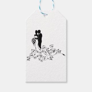 Etiqueta Para Presente Silhueta do conceito do casamento dos noivos