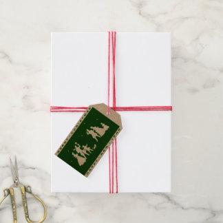 Etiqueta Para Presente Silhueta do verde do artesanato do Feliz Natal do