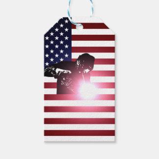 Etiqueta Para Presente Soldador e bandeira americana