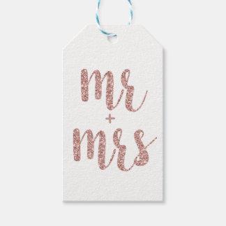 Etiqueta Para Presente Sr. do ouro & Sra. cor-de-rosa Tag do favor,