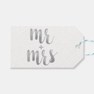 Etiqueta Para Presente Sr. & Sra. de prata Tag do favor, folha,