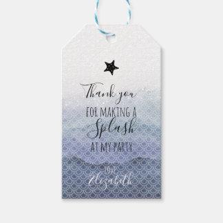 Etiqueta Para Presente Tag azuis do presente da festa de aniversário da