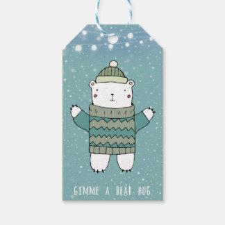 Etiqueta Para Presente Tag azuis do presente do abraço de urso do Feliz