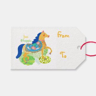 Etiqueta Para Presente Tag azul do presente da ilustração do cavalo