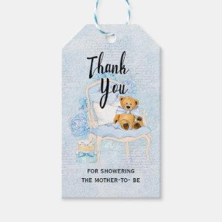 Etiqueta Para Presente Tag azul do presente do chá de fraldas do urso de