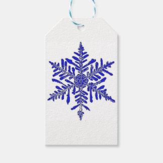 Etiqueta Para Presente Tag azul do presente do floco de neve